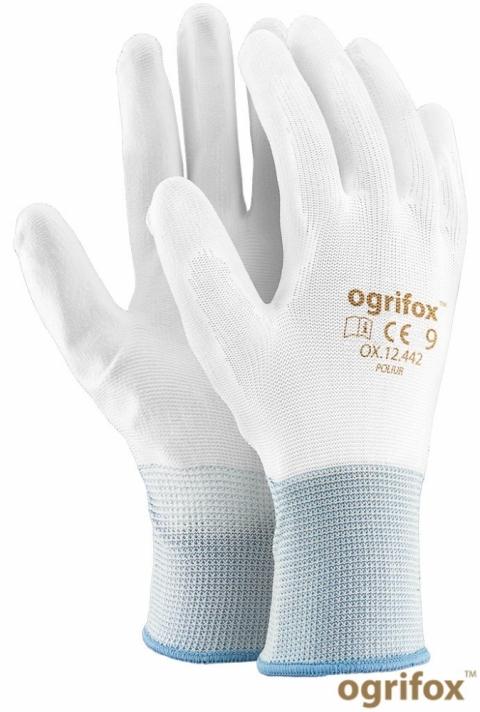 Rękawice powlekane OX- POLIUR białe